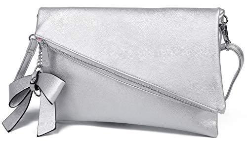 Løkke Damen Clutch Silber - Kleine Abendtasche Handtasche Damen Klein - Silberne Clutch Damen - Elegante Tasche -