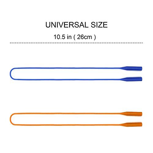 JM Unisex Elastic Silicone Eyeglasses Waterproof Sports Sunglasses Strap Holder Retainer Chain (Blue and Orange) - Pack of 2