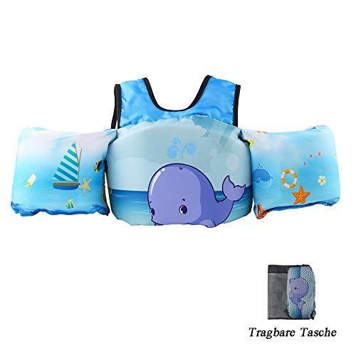 HOFOUND Schwimmflügel Schwimmwesten mit Schultergurt für Kinder von 2-7 Jahre 10-30kg Schwimmweste für Kleinkinder Schwimmen zu Lernen Schwimmhilfe für Jungen und Mädchen (Blaue Wal) - Babys Für Schwimmweste