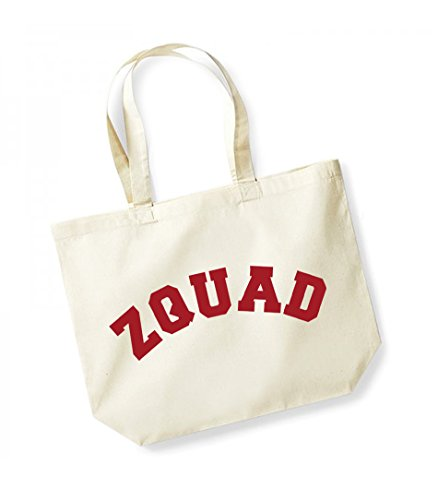 Zquad - Large Canvas Fun Slogan Tote Bag Natural/Red