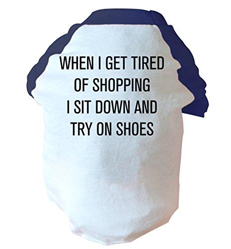 "Quando I get tired of shopping ""sedersi e provare cane, due tonalità, colore: rosa/blu blu Large"