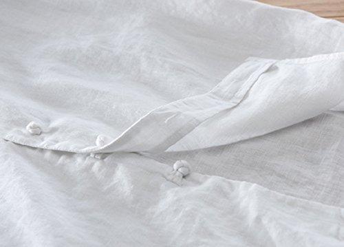 Icegrey Herren Leinen Kurzarm Hemd Sommerhemd V-Neck Freizeit Hemd Mit Knotenknopf Weiß