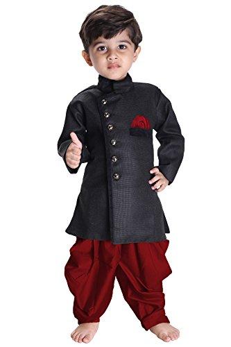 jbn creation Boy's Cotton Silk Sherwani Suit with Dhoti Pant (Black_7 - 8 Years)