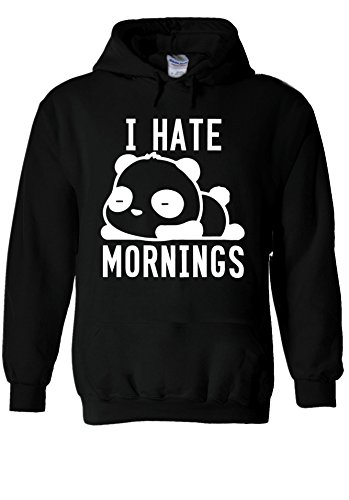 I Hate Mornings Panda Bear Cute Swag Novelty Novelty Black Men Women Unisex Hooded Sweatshirt Hoodie-M (Sweatshirt Bear Black Baumwolle)