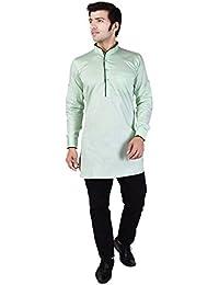 Veera Paridhaan Men's Solid Green Cotton Kurta
