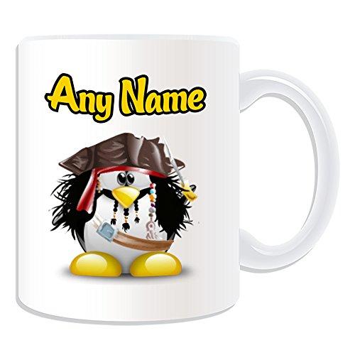 Caribbean Kostüm Pirate Captain - Personalisiertes Geschenk-Jack Sparrow Tasse (Pinguin Film Charakter Design Thema, weiß)-Jeder Name/Nachricht auf Ihre Einzigartiges-Kostüm Film Superheld Hero Pirates of the Caribbean Captain