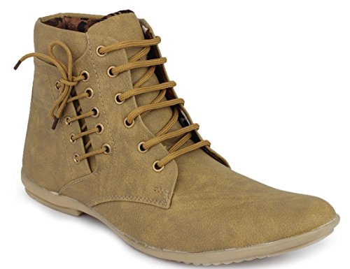 Hot Man Mens' Designer Tan Faux Leather Long Ankle Boots Size:- 7 UK/IND  available at amazon for Rs.299