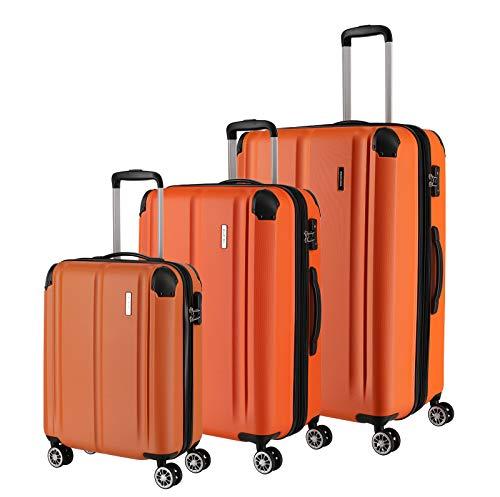 Travelite Leicht, flexibel, sicher: 'City'-Hartschalenkoffer für Urlaub und Business (auch mit Vortasche) Koffer-Set, 77 cm, 231 Liter, Orange