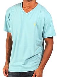 Ralph Lauren - T-shirt classique à col en V - bleu aquatique - homme
