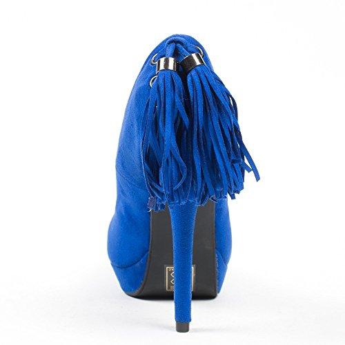 Ideal Shoes–Escarpins effetto camoscio con laccio a frange all' posteriore maliane Blu