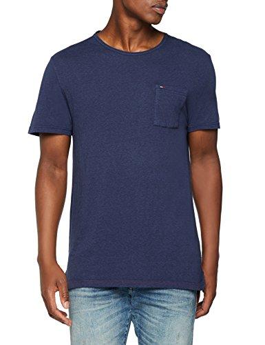 Tommy Jeans Herren Essential Garment Dye  Kurzarm  Top Blau (Black Iris 002) Large - Top Black Denim