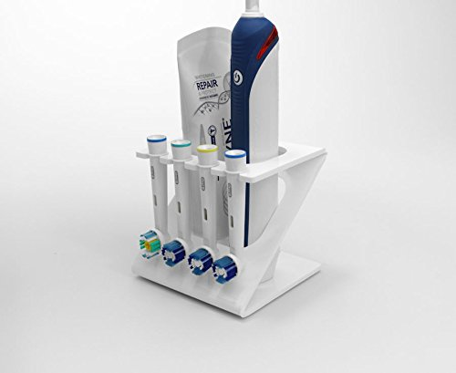 Plastic Online Ltd Ständer/Halter für elektrische Zahnbürste und 4 Bürstenköpfe (in verschiedenen Farben erhältlich) weiß