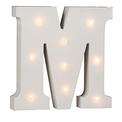 Beleuchtete Buchstaben (A - Z) mit 8 LED-Birnchen, weiß, ca. 16 cm Höhe (M)