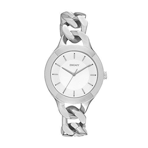 DKNY NY2216 – Reloj de cuarzo con correa de acero inoxidable para mujer, color plateado