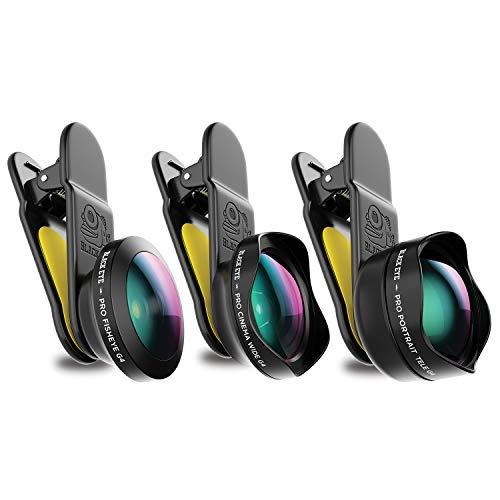 Black Eye Pro Kit G4 Kombo-Paket mit Pro Portrait Tele G4, Cinema Wide G4, Fisheye G4 (Inklusive Reisetasche, Universelle Clip-Befestigung, 180° Fischaugen-, 120° Weitwinkel und 2,5-fach Teleobjektiv) G4-kit