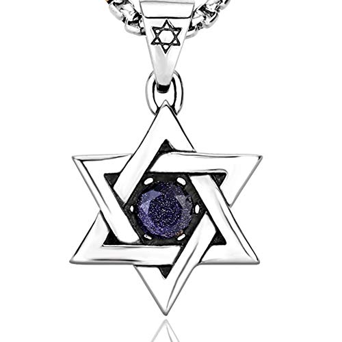 JAJAFOOK Herren-Anhänger Titan Edelstahl Jüdischer Davidstern matt gebürstet Textur Diamant Blau