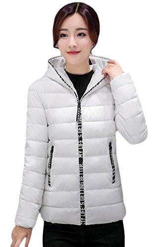 Smile YKK Winter Damen Kurzer Jacke Winterjacke Parka Outwear Damenmantel Daunenjacke Kapuzenjacke mit Kapuzen Weiß
