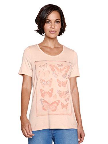 Damen Shirt mit Glitzer- und Schmetterlingsdruck by AMY VERMONT Apricot