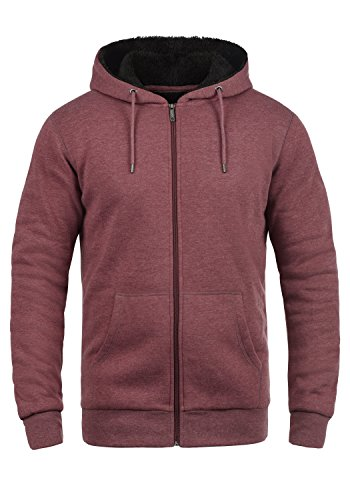 !Solid BertiZip Pile Herren Sweatjacke Kapuzen-Jacke Zip-Hoodie mit Teddyfutter aus hochwertigem Baumwollmaterial Meliert, Größe:M, Farbe:Wine Re P (P8985) Asos Zip