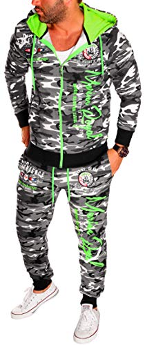 Herren Fitness Jogginganzug Sportanzug Kapuze Kaputze Reißverschluss Zip Taschen Camouflage Army Tarn Jacke und Hose Gym Trainingsanzug (XXL, Camou-Grün (Marine Royal))