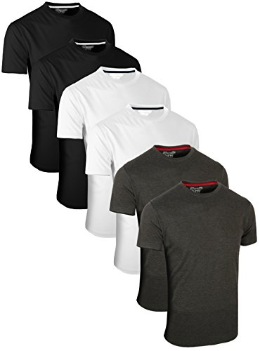 Full Time Sports 6 Pack Kohle Weiß Schwarz Rundhals Tech T-Shirts (2) X-Large