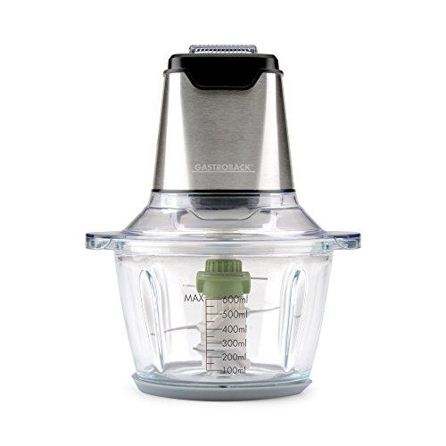 Gastroback 40961 Design Mini Chopper Plus, Multi-Zerkleinerer, 3 Edelstahl-Sichelmesser, 400 Watt, 1,2 Liter Glasbehälter, steel, edelstahldesign