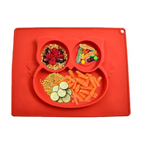 BeFloral, piatto in silicone bambini, ventosa anti sventolamento, piatto con tovaglietta, prima pappa, prima infanzia, tre scomparti, sicuro in lavastoviglie microonde.