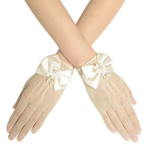 Coucoland Damen Lace Handschuhe Spitze Braut Hochzeit Handschuhe Opera Fest Party Handschuhe Damen Fasching Kostüm Accessoires (Schleife Beige/Kurze Finger)