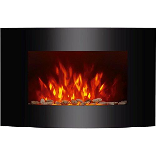Oramics Elektrokamin Dekokamin ARINN mit Heizung, Flammensimulation, LED Seitenbeleuchtung und Fernbedienung – Wandkamin elektrisch mit Kaminfeuer, 2 Heizstufen (1000 oder 2000 Watt), Wandmontage