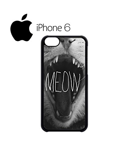 Meow Roar Cat Kitten WTF Swag Mobile Phone Case Back Cover Coque Housse Etui Noir Blanc pour iPhone 6 Black Noir