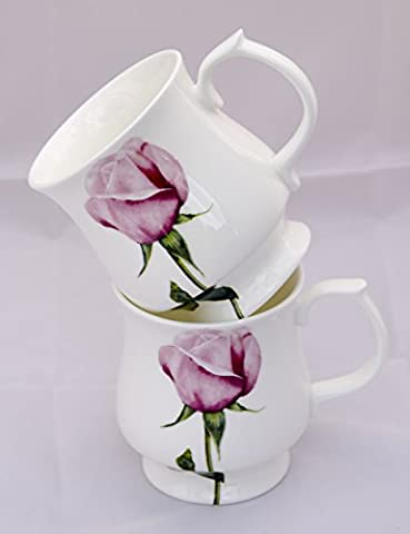 Pair of Rose Fine Bone China Stacking Mugs