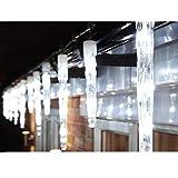24er LED-Eiszapfen-Lichterkette für Außen & Innen Weihnachtsbeleuchtung Stimmungslichter Lichternetz Deko