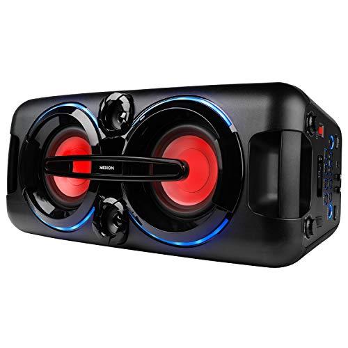 MEDION P67013 Party-Soundsystem (Partylautsprecher Karaoke, Bluetooth 2.1, Kompaktanlage, 440 Watt, Farbige LED, PLL UKW Radio, USB, AUX, Mikrofonanschluss)