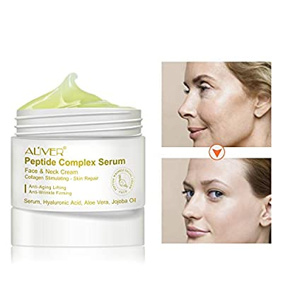 2 Pack Face & Neck Firming Cream Peptide Complex Serum, Organic & Vegan, Helps With Anti-Wrinkle & Firming Skin Packed with Hyaluronic Acid, Aloe Vera, Jojoba Oil