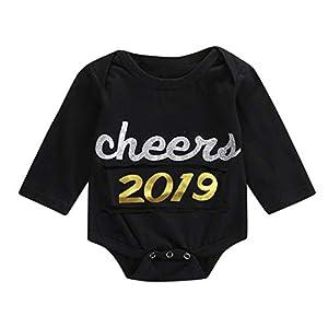 catmoew Baby Mädchen Kleidung (0M-18M) mädchen Kleider Junge Kleidung Lange Ärmel Brief Kletteranzug Bodysuit-Kleidung Neujahr Strampler Outfits Neugeborene Kleidung