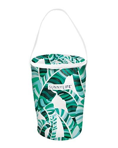 SunnyLIFE Mittlere runde, tragbare, isolierte Kühler-Strandtasche mit Schultergriff und Reißverschluss - Banana Palm Green Einheitsgröße Banana Palm