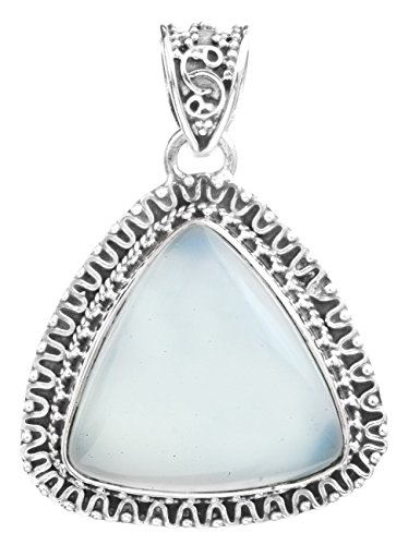 Exotic India Gemstone Triangle Pendant with Filigree - Sterling Silver - Color Blue Chalcedony