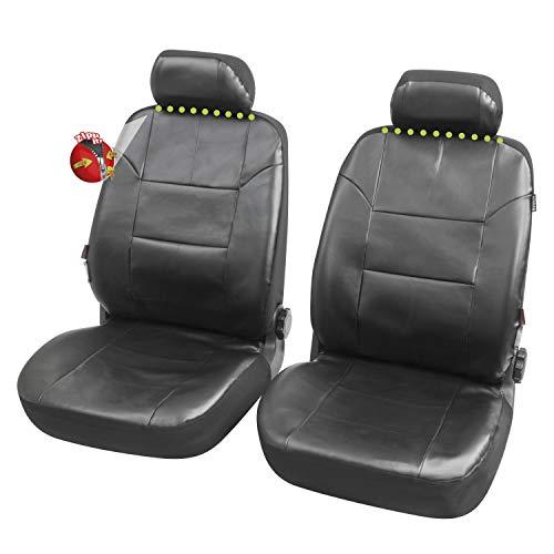 Coprisedili Anteriori Pelle Nera Duster Versione (2016-2018) compatibili con sedili con airbag, con Fori per i poggiatesta e bracciolo Lat