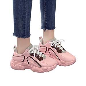 TianWlio Sneaker Frauen Mode Runde Zehe Schnüren Outdoorschuhe Dicke Unterseite Sneaker Sportschuhe Laufschuhe Black Pink 35-40