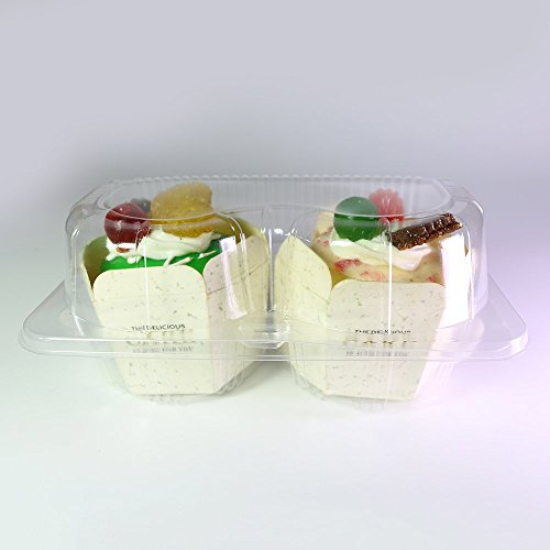 OEM Bargain Set von 50BPA-Frei Klar Cupcake Container 2 Compartment Farblos
