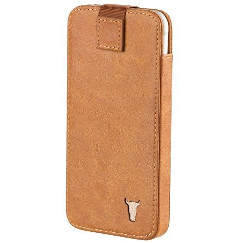 Pochette de TORRO pour iPhone 6 avec les compartiments pour cartes (brun clair/tan, en cuir de vache veritable des Etats Unis) pour iPhone 6 / 6S Marron 'Tan'
