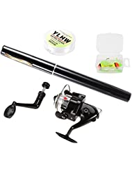 Lixada Pen Fishing Rod and Reel Combo Set Mini Telescopic Pocket Fishing Rod Spinning Reel Fishing Line Soft Lures Baits Jig Hooks