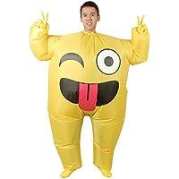 Lolanta Disfraz de Emoji Inflable Unisex para Adultos Disfraz de Halloween Blow up Fancy Dress (Smile)