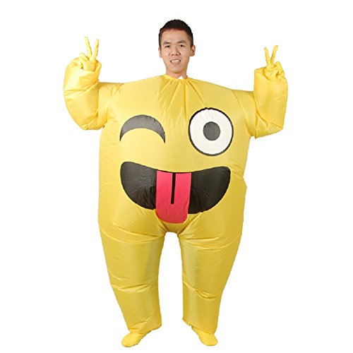 LOLANTA Disfraz de Emoji Inflable Unisex para Adultos Disfraz de Halloween Blow up Fancy Dress (Smile)