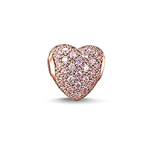 Thomas Sabo Women Bead hot Pink pavé Heart 925 Sterling Silver; 18k Rose Gold Plating K0144-416-9