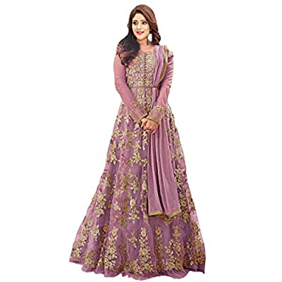 mashur fab Women's Net Heavy Embroidered Semi-Stitched Anarkali Gown (Multicolour, Free Size)