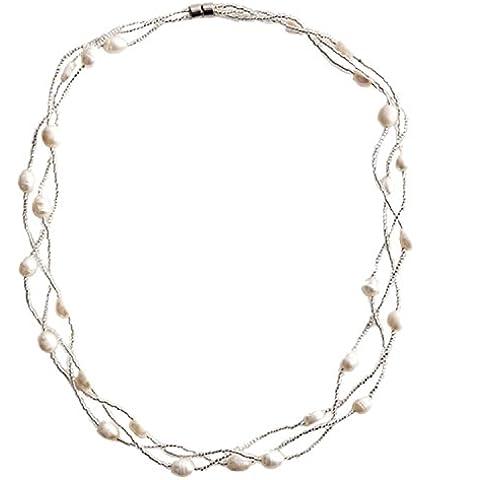 Lureme Genuine Crema d'acqua dolce Pearl and Piccolo Transparent perlina Triple Strand Collana for Women 100526