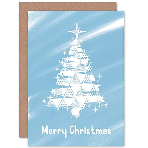 Wee Blue Coo LTD Christmas Xmas Frosty White Tree New Art Greetings Gift Card (Xmas White Tree)