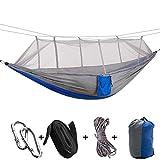Wifehelper Tragbare Camping Reise Hängematte Hängende Bett mit Moskitonetz für Outdoor Wandern Backpacking Reise (Grau + Blau)