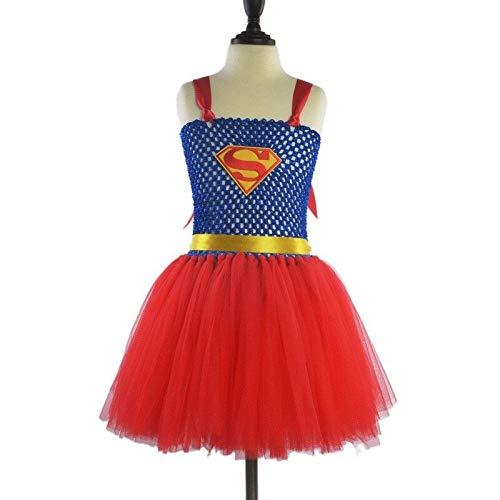 FidgetGear Kinder Cosplay-Kostüm Superhelden-Mädchen-Tutu-Kleid, klassisch, Halloween-Party, Superman, (24M) - Superman Kostüm Tutu